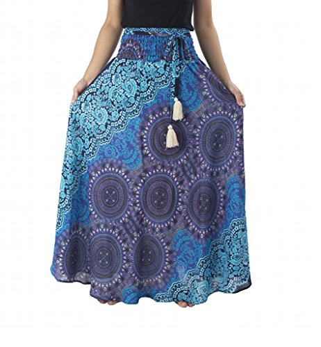 Lannaclothesdesign Women's Long Maxi Rose Multi Color Skirts Boho Skirts One Size Blue