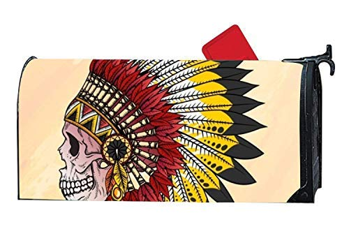 Tollyee Shimmering Mailbox Makover Cover Skull with Hand Drawn Indian Feathers Mailbox Makeover Garden,Outdoor,Yard Magnetic Magnetic Mailbox Cover 9