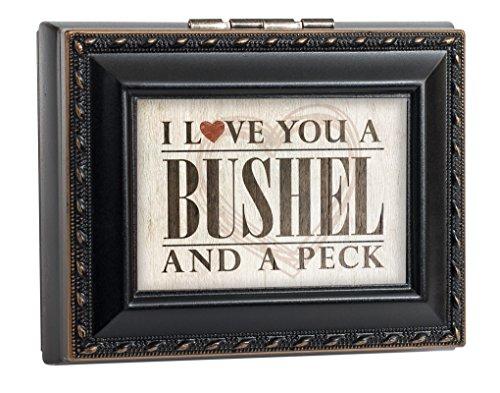 (Cottage Garden I Love You a Bushel and a Peck Black Rope Trim Square Treasure Jewelry Box)
