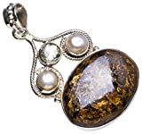 """Natural Bronzite,Green Amethyst andRiver Pearl Handmade Unique 925 Sterling Silver Pendant 1.75"""" X0614"""