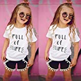 AMA(TM) Toddler Kids Baby Girls Letters Print Sleeveless T-Shirt +Tassels Shorts Pants Outfits Clothes Set (5/6T, White)