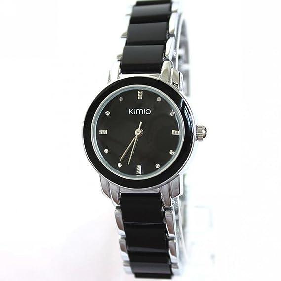 Kimio Reloj mujer analógico cuarzo quartz acero inoxidable y detalles plásticos negros: Amazon.es: Relojes