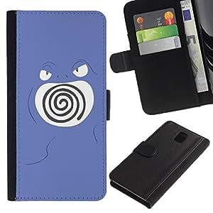 Protector de cuero de la PU de la cubierta del estilo de la carpeta del tirón BY RAYDREAMMM - Samsung Galaxy Note 3 III - Remolino púrpura de Poke Monster
