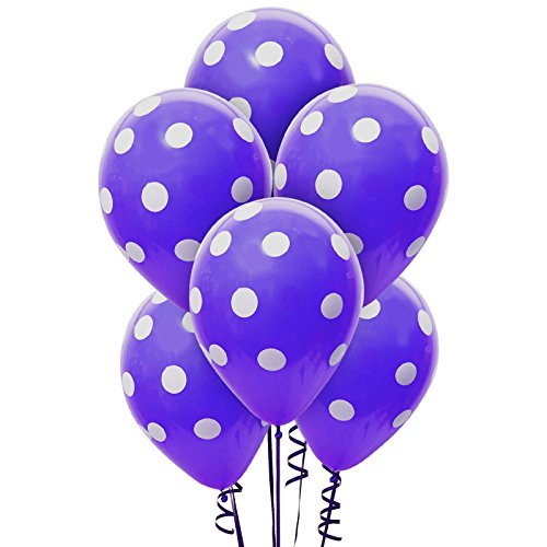 Purple and White Dots Latex Balloons - Party (Purple And White Balloons)