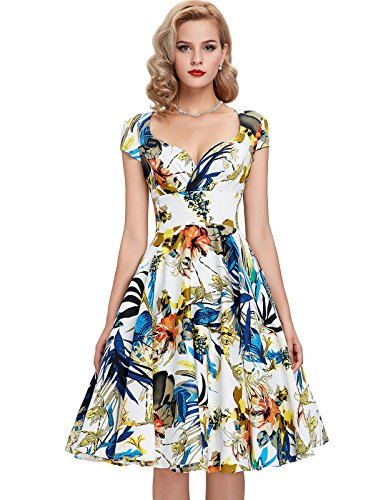 Cap-Sleeve-Vintage-Swing-Dresses-for-Women-Multi-Colored