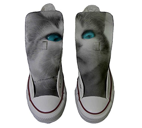 Converse All Star chaussures coutume mixte adulte (produit artisanalPersonnalisé) White cat with blue eyes