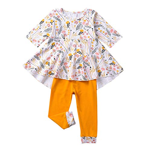 Fioukiay Toddler-Girls-Fall-Clothes-Set Little Girls Highlow Tunic Tops+Leggings Outfit Boutique Clothing (Yellow, 6-12Months)