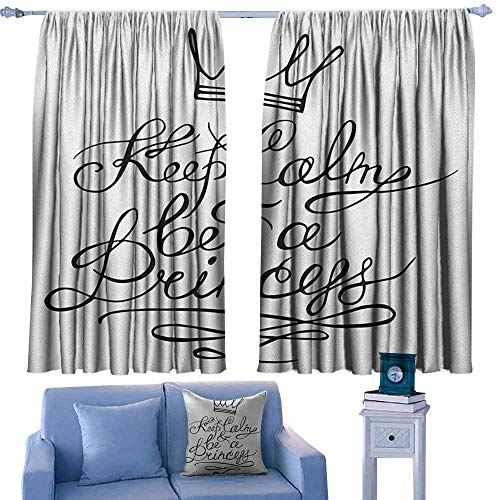 ParadiseDecor Keep Calm Kitchen Curtains Be a Princess Motivational Romantic Quote with Hand Letters Save The Date Print,Patterned Drape for Kids Bedroom,W52 x L95 Inch