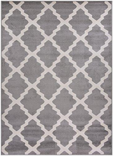 Comfy Collection Trellis Area Rug Lattice Modern Contemporary Rug 4 Color Options (Grey, 7'10