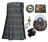 CT Men's Scottish 8 Yards 16oz Kilt Weathered Black Watch Tartan Acrylic Wool Kilts Outfit Set 6 Pieces (46)