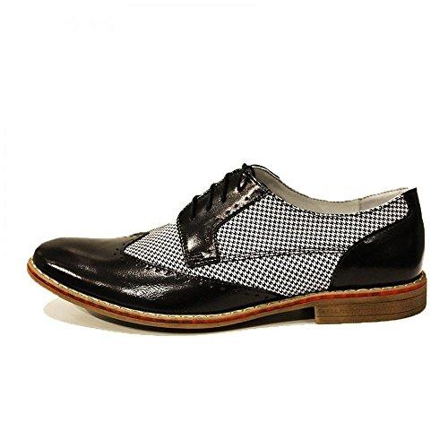 Modello Federico - Handgemachtes Italienisch Leder Herren Weiß Wing Tip Schuhe Abendschuhe Oxfords - Rindsleder Wildleder - Schnüren