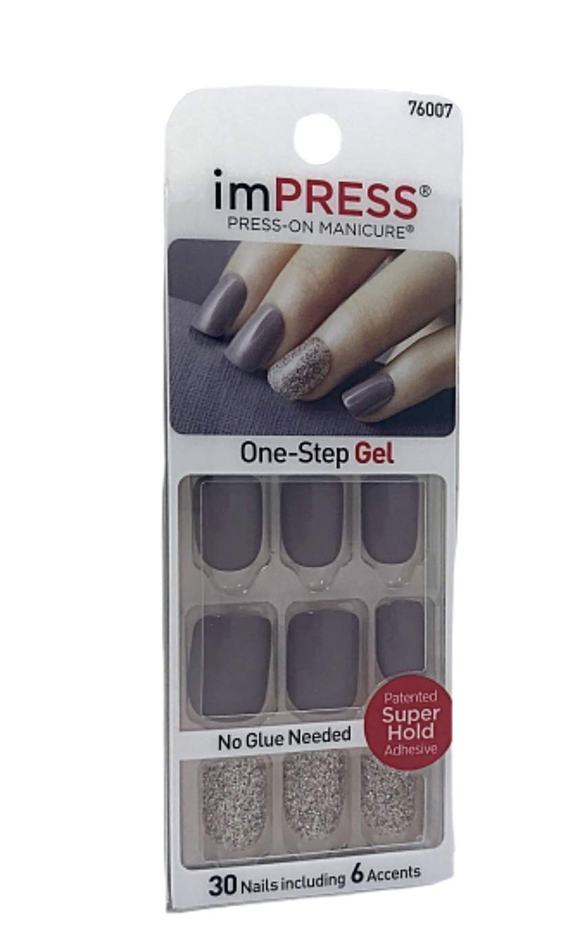 Kiss imPress Manicure Press-On Short Length Grey Gel Nails 76007 So Unexpected by BROADWAY NAILS