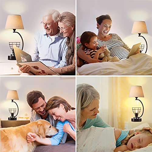 Bedside Lamp with Dual USB Ports, 2-Lights Design Lamps for Nightstand, Modern Desk Lamp Table Lamp with Outlet, Rustic USB Lamp for Bedroom with Fabric & Metal Shade, 2 LED Bulbs Included