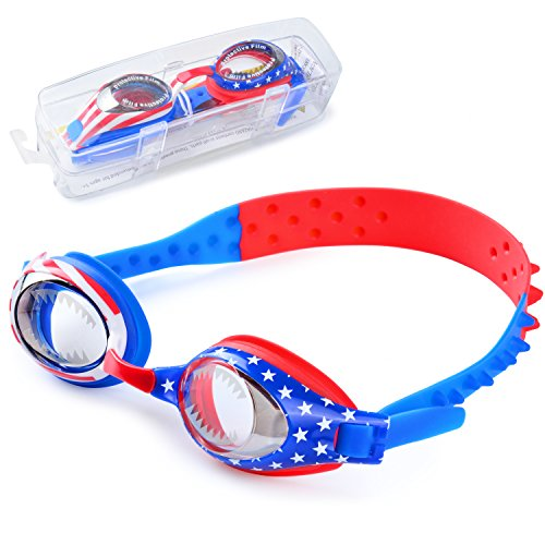 Kids Swim Goggles, Waterproof Swimming Glasses With Clear Wide Vision Anti Fog UVA/UVB Protection and No Leak Soft Silicone Gasket for Boys by iToobe