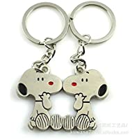 1 Pair I Love U Cute Snoopy Couple Keychain Love Key Chain Sweethearts Key Ring by Allscarf007
