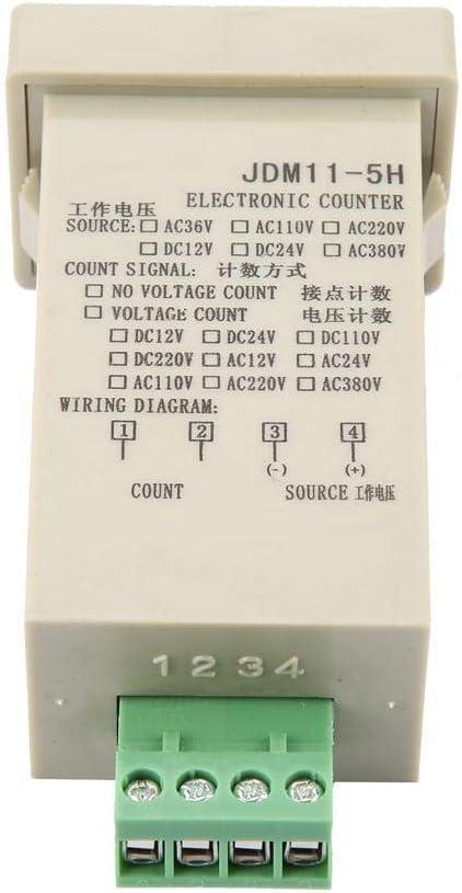 DC36V DC 24V DC36V DC 12V JDM11-5H 5 Digit Display Electronic Accumulating Counter Memory Voltage Counting with Power Failure AC220V