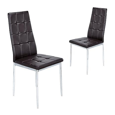 Zehuoge 2 x set di sedie con schienale alto in pelle ecopelle 315 x ...