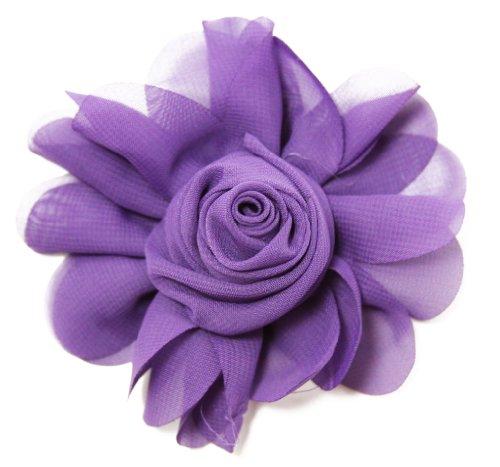 Rosette Chiffon (Purple Chiffon Rosette Hair Clip - 4