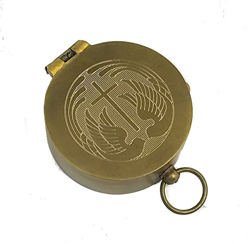 Engraved Antique Brass Pocket Compass (Cross and Two Doves, Personalized Baptism/Confirmation Gift) (Personalized Compass)