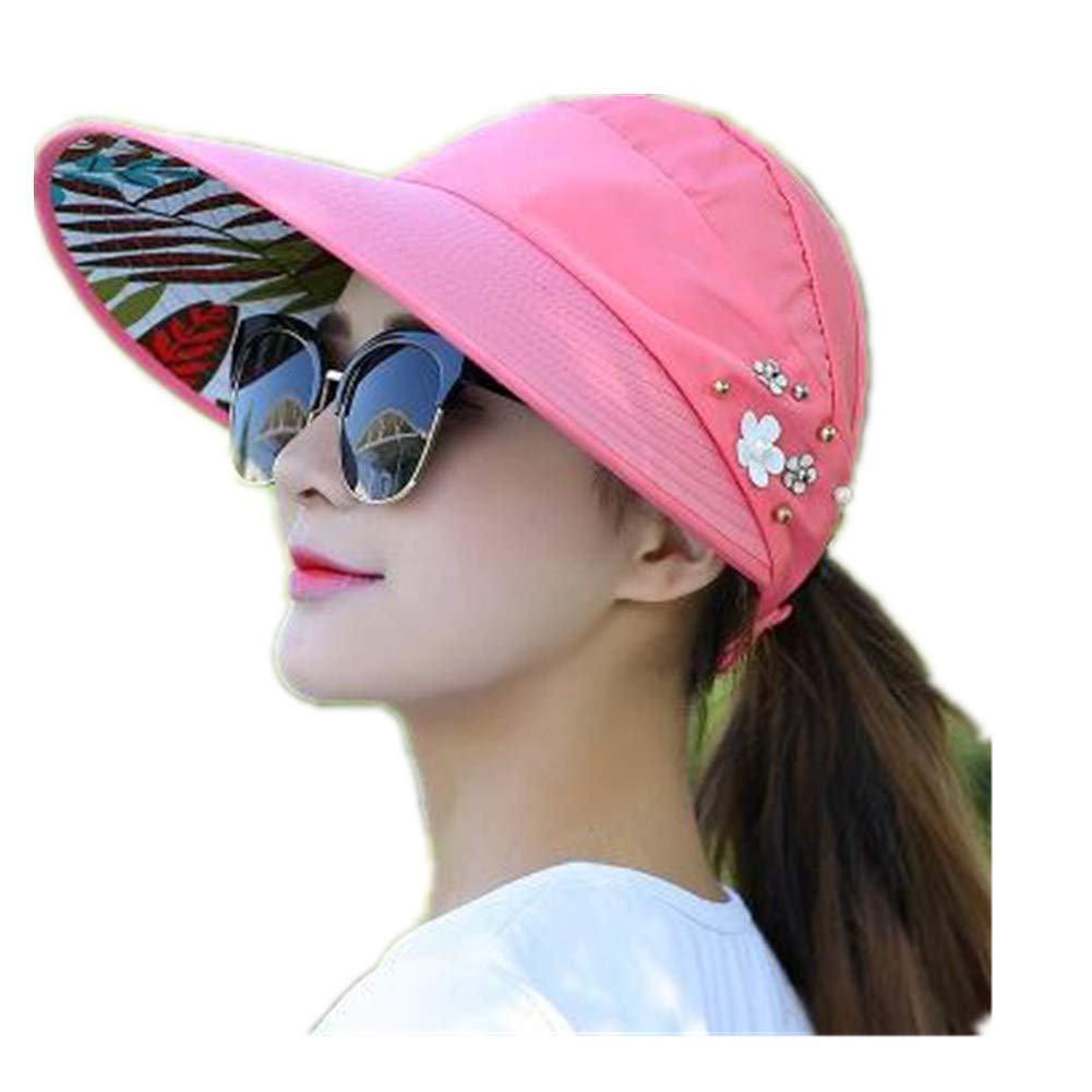 1PCS Women Summer Sun Hats Pearl Packable Sun Visor Hat with Big Heads Wide Brim Beach Hat UV Protection Female Cap by Xiaolanwelc