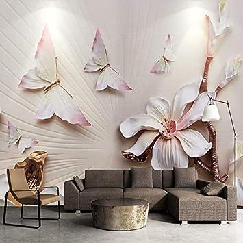 Colore Pareti Camera Letto.Amazon Com 3d Wallpaper Moda Moderna Sollievo Fiore Di Magnolia