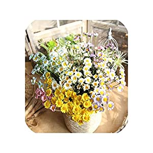 Maja Shop 15Pcs Daisy Small Flower Head Bouquet Artificial Flowers Artificial Flowers Wedding Decoration DIY Manual Supplies Accessories 45