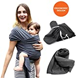 Mucha Ergonomic Baby Sling Wrap Carrier – Soft Swaddle Blanket – Breastfeeding Cover – Lightweight, Soft, and Breathable wrap for Infant and Toddler – Great Color Dad/Mom Charcoal (Dark Gray)
