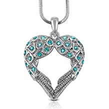 Silver Tone Teal Crystal Guardian Angel Wings/Wing Heart Necklace Fashion Jewelry Gift Ovarian Cervical Cancer Awareness
