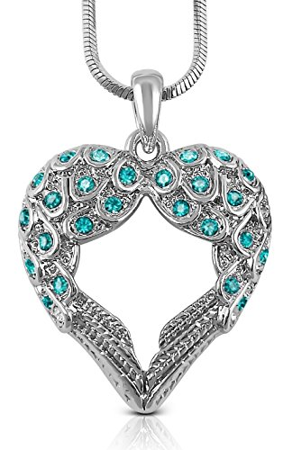 Crystal Guardian Angel Heart Shaped Wings/Wing Pendant Necklace Gift for Women Teens Girls (Teal Blue)