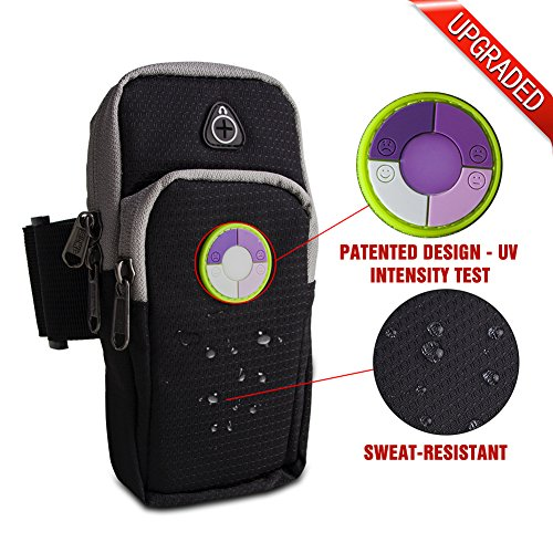 Running Armband UPPEL Sports Outdoor Cellphone Armband Bag Double Zipped Pockets with Round Shape Smile Face Ultraviolet UV Tester for Card Money Smartphone Screen Size from 5
