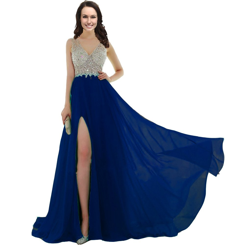 Kivary Sheer Beaded V Neck Long Front Slit Long Prom Dress Evening Gowns  Plus Size Royal Blue US 20W