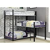 Amazon Com Limbra Full Over Queen Metal Bunk Bed In Black Kitchen