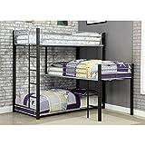 unique bunk beds Furniture of America Turner Modern Metal Triple Twin Bunk Bed in Sand Black