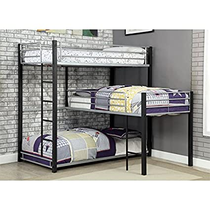225 & Furniture of America Turner Modern Triple Twin Bunk Bed in Sand Black