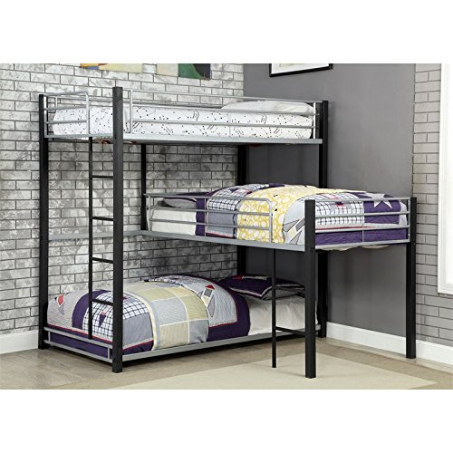 Furniture of America Turner Modern Triple Twin Bunk Bed in Sand Black