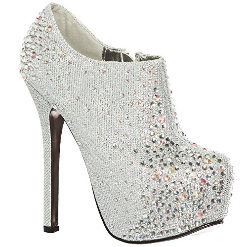shoewhatever Women's Almond Toe Rhinestones Studded High Heels Ankle Platform Pumps (8.5, Silver)[Apparel]