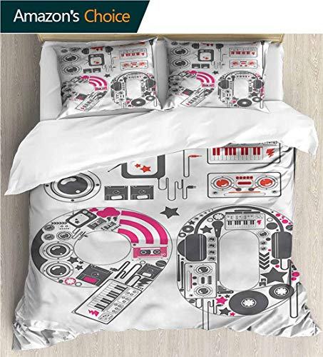 Home 3 Piece Print Quilt Set,Box Stitched,Soft,Breathable,Hypoallergenic,Fade Resistant Patterned Technique King Quilt Set-90S Groovy 90S Music Keyboard Cable (87
