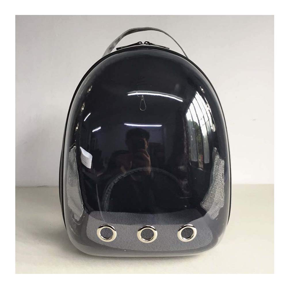 BLACK Pet Backpack Out Portable Space Bag Transparent Cat Cage Breathable Backpack Waterproof 32  28  42cm (color   Black)