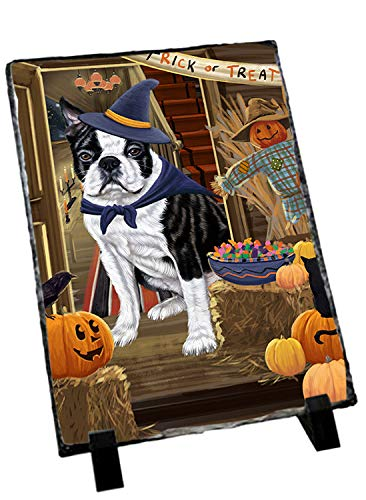 Doggie of the Day Enter at Own Risk Trick or Treat Halloween Boston Terrier Dog Photo Slate SLT53034
