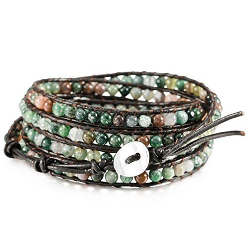 MOWOM Colorful Alloy Genuine Leather Bracelet Bangle Cuff Rope Simulated India Agate Bead 5 Wrap Adjustable ()