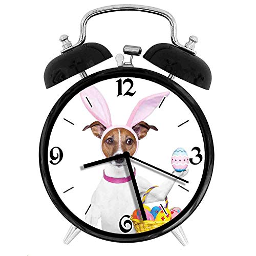 Dog Dressed up as Easter Bunny Holding a Basket of Eggs Funny Animal Illustration, Metal Double Bell Alarm Clock, Family Bedroom Travel School Battery Operation Light (Black) 4in]()