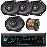 Kenwood KMM-BT315U Single DIN Bluetooth In-Dash AM/FM Car Stereo Receiver Bundle Combo With 4x KFCC6895PS 6x8 750W Audio Coaxial Speakers + Enrock 50 Ft Speaker Wire