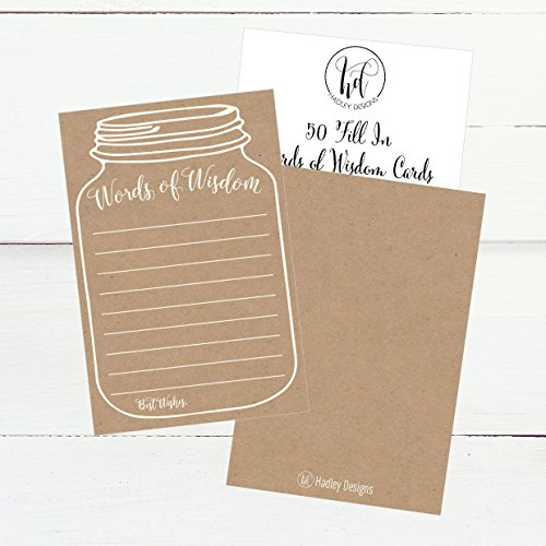 50 Rustic Mason Jar Words of Wisdom Advice Cards, Use As Graduation Advice Cards, Marriage or Wedding Advice Cards, Bridal or Baby Shower Party Games, Boy or Girl Baby Prediction or Advice Cards Photo #2