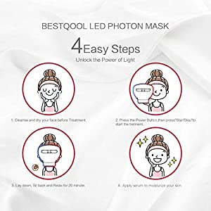Led Face Mask, Bestqool Led Light Therapy Red | NIR | Blue Facial Skin Care Mask, Clinical Grade Photon Mask Light for Skin Rejuvenation, Anti Aging Skin Tightening Wrinkles