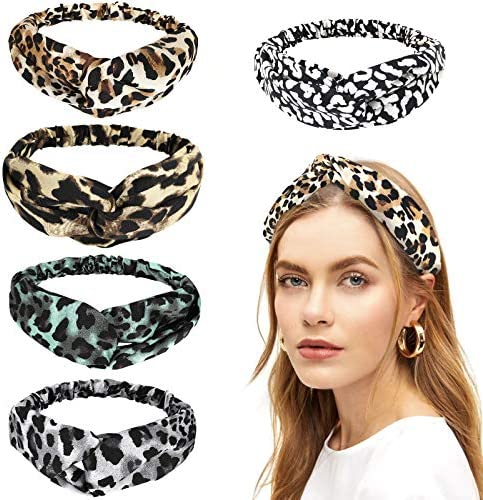 Luxspire Headbands for Women, [5 Pack] High Elasticity Vintage Leopard Hair Band, Animal Print Fashion Hair Bands Criss Cross Hair Wrap Hair Accessories for Ladies and Girls – Leopard Dot