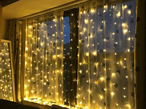 LIIDA Curtain Lights, 600 LED Twinkle Lights 19.7 x 9.8ft Warm White Curtain Icicle Lights with 8 Modes Controller for Holiday, Party, Outdoor Wall, Wedding Decorations