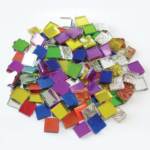 Colored Mirror Tiles - Jennifer's Mosaics 8-Ounce Variety Mosaic Mirror Tile, Assorted Colors
