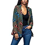 Lrud Women's Casual Long Sleeve Dashiki African Floral Print Blazer Jacket Coat Suits Green XL