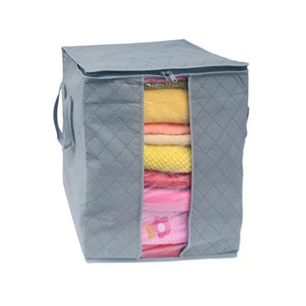 LiPing Useful Non Woven Foldable Heavy Duty Clothing Blankets, Closets, Bedrooms, and more Organizer Storage Bags Reusable Moving Bag Zipper closure (Grey)