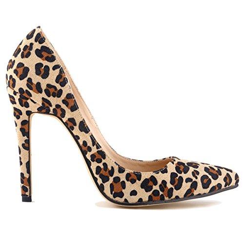 Loslandifen Donna Punta Chiusa Tacco A Spillo Snello Stiletto Snello Pumps Leopard Ve